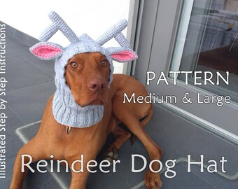 Reindeer Dog Hat PATTERN / Christmas Dog hat Pattern / DIY Dog Hat / Dog Hat Knit Pattern / How To Knit Dog Hat