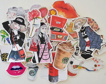 Harajuku Style Cool Girls Flake Stickers (33 pcs) // N15 // Die Cut Stickers // Planners //  Laptop Stickers  // Scrapbooking Essentials