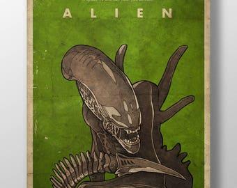 Alien movie poster, Xenomorph, Retro poster, Art print, Film poster, Wall print, Art poster, Vintage poster, Home decor, Alternative poster