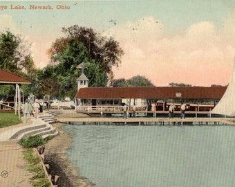 Newark, Ohio - Getting ready to sail on Buckey Lake in 1911 - Vintage Postcard