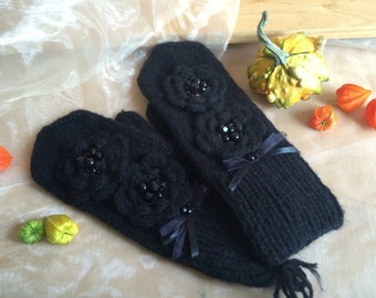 Handmade Knit Mittens, Black Mittens, Women Gloves, Warm Mittens, Winter Gloves, Women Accessory, Gift For Her