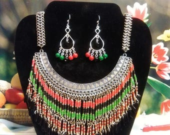 PanAfrican Beaded Fringe Necklace and Earring Set