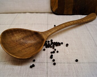 Unique wooden ladle from curly walnut,wooden spoon,wood spoons,serving spoon,ladle,kitchen wooden utensils,carved wooden spoon,cooking ladle