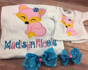 Matching Girl Doll Shirts;Girl And Doll;Dollie And Me;Made To Match;Custom Doll Clothes;Girls Gift;Fox Shirt;Embroidered Shirt;Personalized