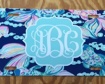Lilly pulitzer going coastal Monogrammed License Plate personalized license plate monogrammed lilly pulitzer inspired Car Tag going coastal