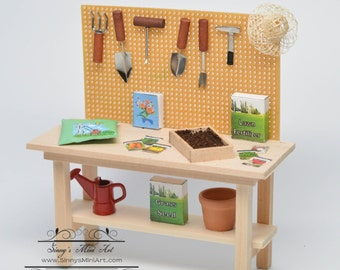 1:12 Dollhouse Miniature Potting Bench with Accessories AZ SH0033