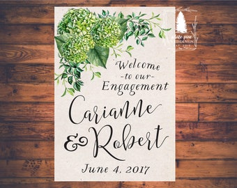 PRINTABLE Wedding Welcome Sign, Wedding Engagement Sign, Green Hydrangeas, Ivory background, Sign to welcome wedding guests, green wedding