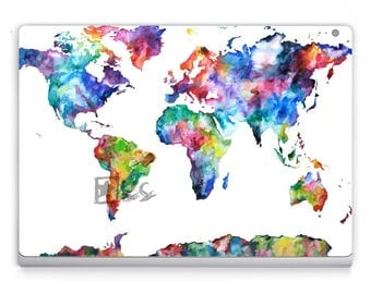 Surface book/Pro 5/Pro 4 Decals **World Map** Microsoft Surface Stickers/Decal/Microsoft Lap Top-Surface Pro
