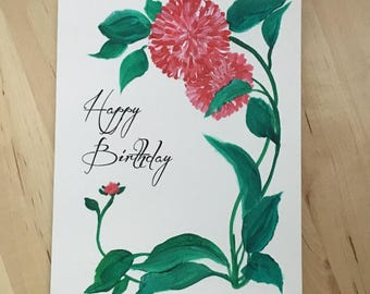 Happy Birthday Personalized Hand Painted Card