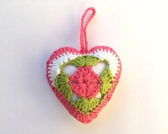 Pink White Green Heart, Christmas heart, Crochet Heart, Crochet Heart with Felt, Valentine Gift, Home Decor