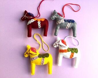 Dala Horse, Felt Dala Horse, Gray White Vinous Yellow Dala Horse, Scandinavian Dala Horse, Swedish Horse, Swedish Souvenir