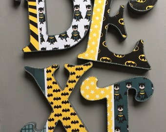 batman,wooden letters,free standing,wall hanging,baby boy, nursery decor,handmade letters,customised,baby gift,nursery letters,baby gift