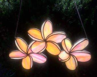 Handmade Plumeria Stained Glass Suncatcher large