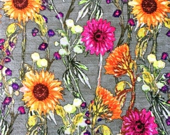 Flower Print Fabric for Upholstery with Floral Meadow Large Pop Design, quality chenille textile also suitable for cushions, blinds,curtains