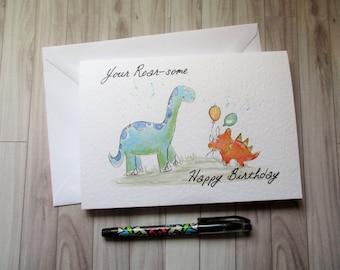 Your roarsome dinosaur card, blank card, greetings card, birthday card, dinosaur birthday, lovers card