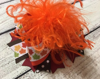 Fall Over The Top Hair Bow Leaves Hair Bow Over The Top Hair Bow Thanksgiving Hair Bows Thanksgiving Over The Top Bow Baby Headband
