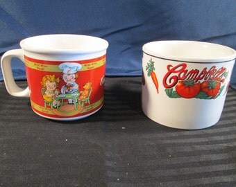 Vintage Collectible Campbell's Soup Set of Two Bowls. Free Shipping.