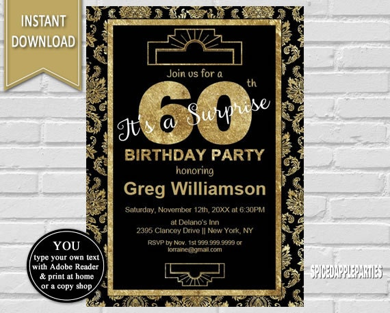 60th Surprise Birthday Invitation Surprise Party Adult Birthday