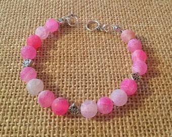 Pink pastel glass bead bracelet