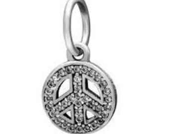 Authentic Pandora Symbol of Peace Charm/Pendant with Clear CZ # 791308CZ