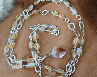 Handmade Genuine Yellow Citrine Necklace Jewelry Genuine Citrine necklace Long crystal necklace healing gemstone necklace citrine jewelry