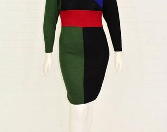 Vintage 1970's Women's 10 or 12 St John by Marie Gray Colorblock Sweater Dress Dolman