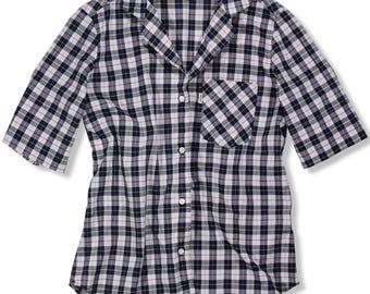 1970's Vintage Women's 8 M Levi's Plaid Top Short Sleeve Western Shirt