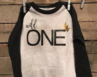 Wild One Raglan First Birthday Shirt
