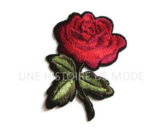 Patch, coat jacket red, Maroon flower with leaves to sew or iron 75 x 60 mm - applique flower - flower coat of arms