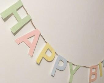 Pastel Glitter Happy Birthday Garland