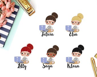 Computer, Work, Design | Girl (matte planner stickers, perfect for planners)