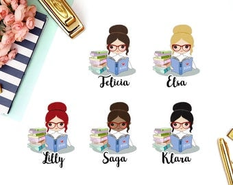 Reading, Books | Girl (matte planner stickers, perfect for planners)