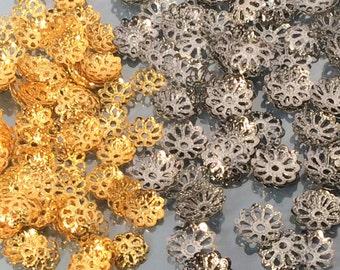 50 pcs 8 mm silver and 6mm gold filigree cap beads,  bloem metal kraal caps, verdeler metal kraal