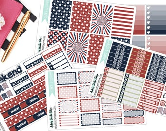 Stars & Stripes Fourth of July Weekly Kit for Happy Planner Planner Stickers