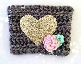 Coffee Cup Cozy, Crochet Coffee Sleeve, Glitter Heart Coffee Cozy, Reusable Coffee Cozy, Coffee Sleeve