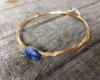 Bead & wire bangle