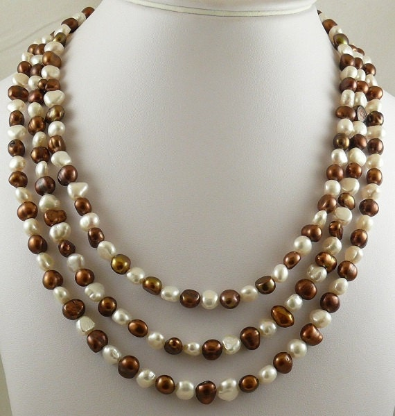 Freshwater Chocolate and White Pearl Triple Necklace with Sterling Silver Clasp