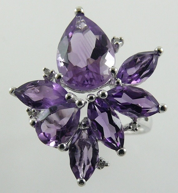 Amethyst 5.53ct Ring with Diamonds 0.01ct 14k White Gold