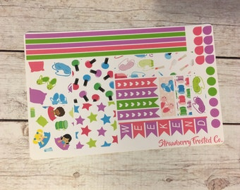 Slumber Party Themed Planner Stickers- Made to fit Horizontal Layout