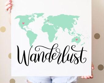 Hand Lettered Wanderlust World Map SVG Cut File