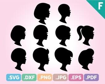 Woman Silhouette SVG Files, Woman Head Silhouette Cutting File, Woman Hair Silhouette Cuttable File, Woman SIlhouette SVG, Instant Download