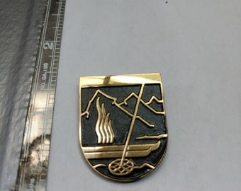 Vintage Huguenin ski pin bacn