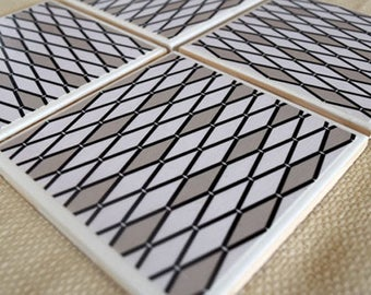 Black, White & Gray Triangle Pattern Ceramic Drink Coaster