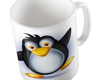 Cute emoji penguin mug