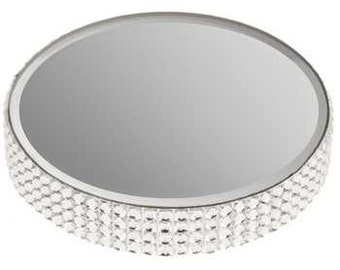 Small Round Mirror Candle Plate with Gems
