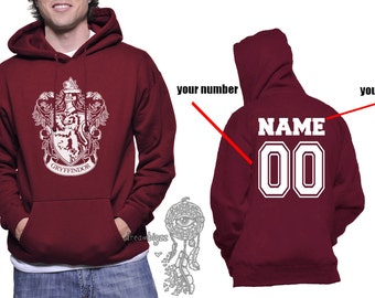 Custom back, Gryffin Crest #1 White printed on MAROON Hoodie