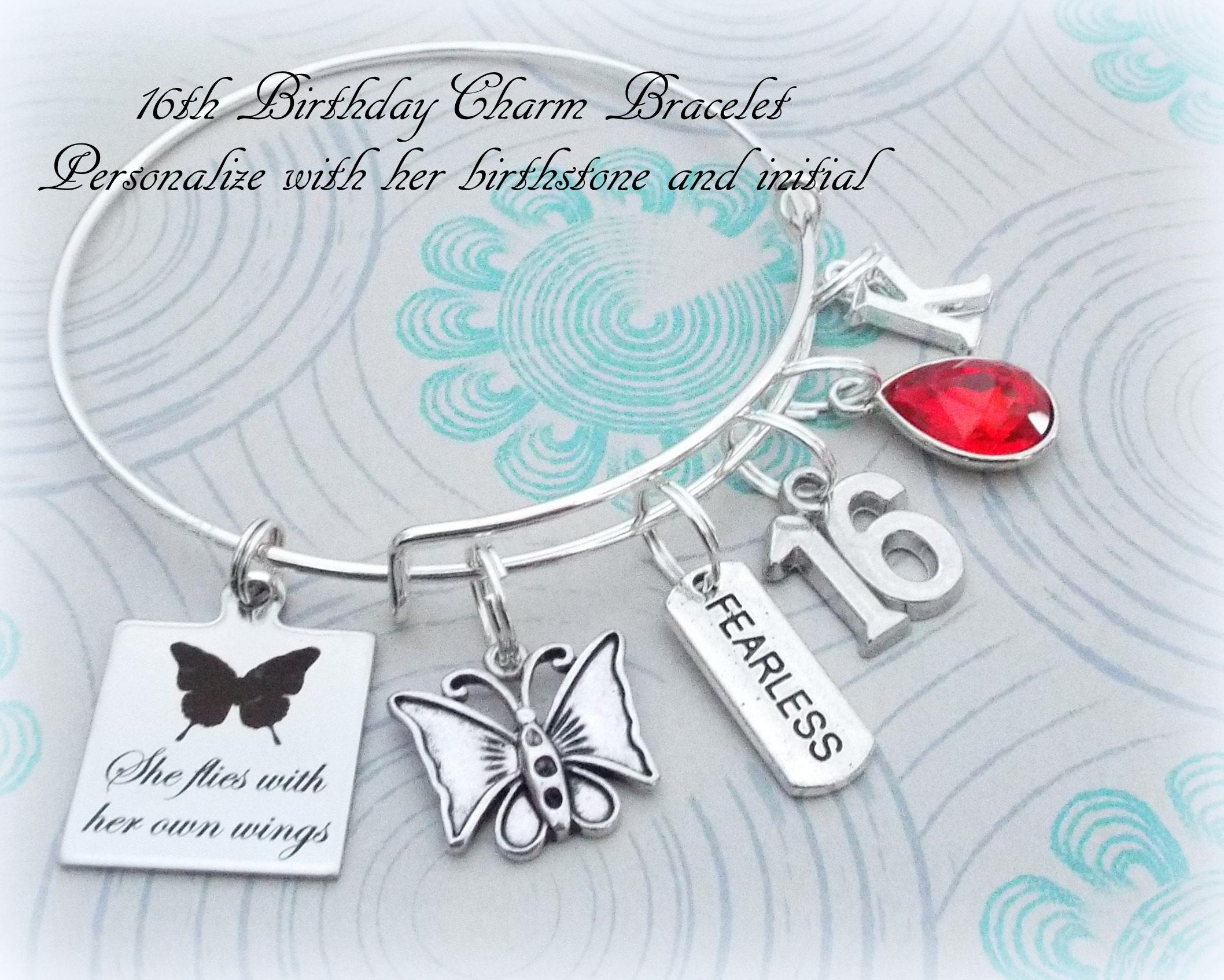 16th Birthday Gift for Girl, Sweet 16 Charm Bracelet, Gift ...