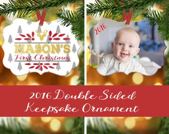 Baby's First Christmas Ornament - Photo Ornament - First Christmas - New Mom Gift - Custom ...