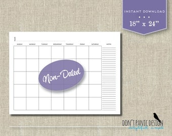 """Large Blank Printable Wall Calendar, 18"""" x 24"""" -  12 Month Wall List Calendar - Office Calendar, School Calendar, Family Schedule"""