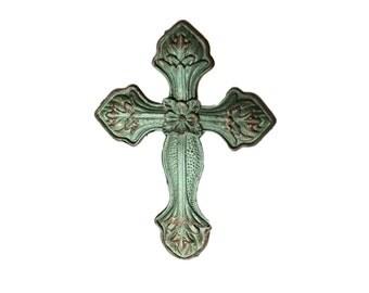 Green Cross Religion Distressed Metal Drawer Pull, Dresser Knob, Cabinet Pull